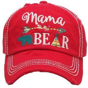 Mama Bear Red Distressed Adjustable Baseball Hat